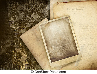 ouderwetse , floral, achtergrond, met, oud, papieren
