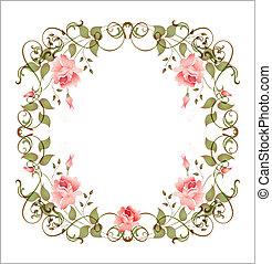 ouderwetse , floral, frame
