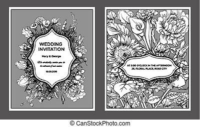 ouderwetse , floral, huwelijk uitnodiging, kaarten