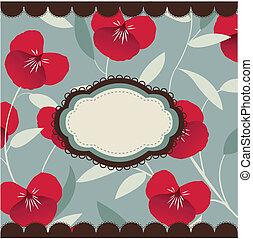 ouderwetse , floral, kaart, met, frame