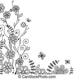 ouderwetse , floral, vlinder, handdrawn, bloemen, kaart