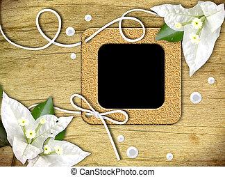 ouderwetse , foto lijst in, en, tropische bloem