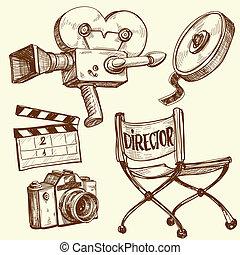 ouderwetse , fotografie, set, bioscoop