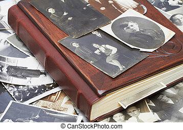 ouderwetse , foto's, met, familie album