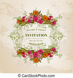 ouderwetse , frame, -, achtergrond, vector, uitnodiging, floral ontwerpen, kaart