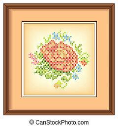 ouderwetse , frame, borduurwerk, roos