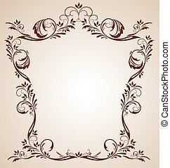 ouderwetse , frame, bruine