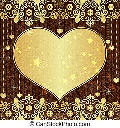 ouderwetse , frame, goud, valentijn