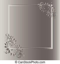 ouderwetse , frame, grijze , achtergrond