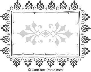 ouderwetse , frame, grijze , doodle