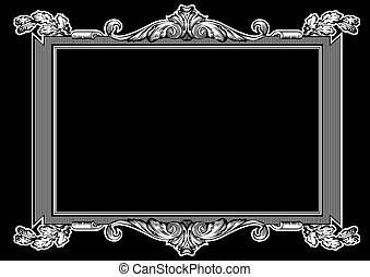 ouderwetse , frame, hoog, black , sierlijk, witte