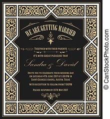 ouderwetse , frame, huwelijk uitnodiging, floral, kaart