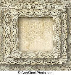 ouderwetse , frame, kaart, voor, uitnodiging, of, felicitatie, met, grens, kant
