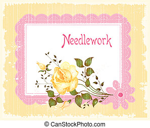 ouderwetse , frame, kantachtig, roos