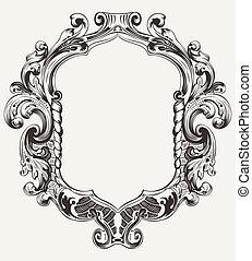 ouderwetse , frame, koninklijk, hoog, sierlijk, origineel
