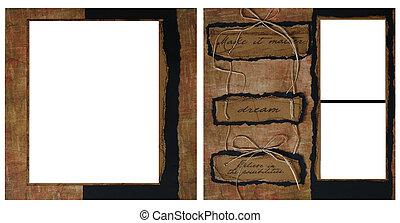 ouderwetse , frame, mal, plakboek