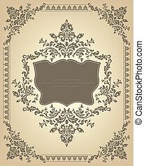ouderwetse , frame, met, floral, ornament