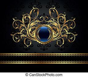 ouderwetse , frame, ontwerp, pakking, goud