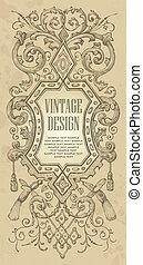 ouderwetse , frame, ontwerp, (vector)