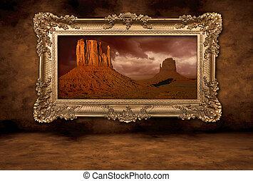 ouderwetse , frame, panorama, boroque, monument vallei