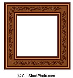 ouderwetse , frame, retro, gebladerte