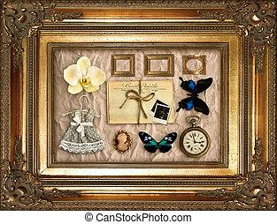 ouderwetse , frame, spullen, gouden