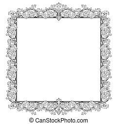 ouderwetse , frame, stijl, barok