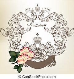 ouderwetse , frame, trouwfeest, rozen, uitnodigingskaart