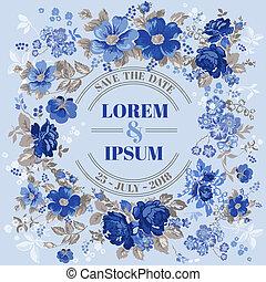 ouderwetse , frame, trouwfeest, -, vector, uitnodiging, floral, kaart