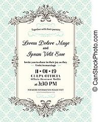 ouderwetse , frame, uitnodiging, grens, trouwfeest