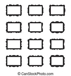 ouderwetse , frame, vector, set