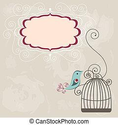 ouderwetse , frame, wih, birdcage