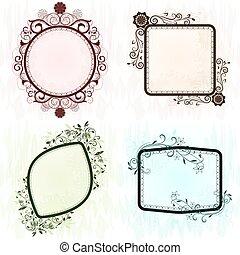 ouderwetse , frames., grunge, sierlijk