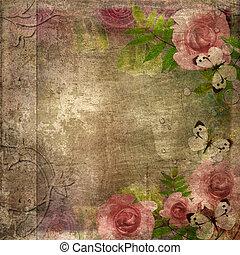 ouderwetse , gedenkboek dek, met, rozen, en, ruimte, voor,...