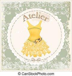 ouderwetse , gele, etiket, rozen, verfraaide, jurkje