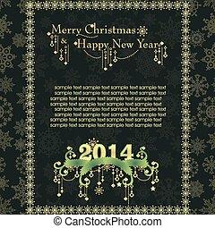 ouderwetse , gemaakt, snowflakes, kaart, kerstmis