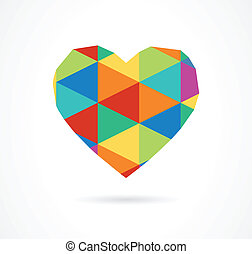 ouderwetse , geometrisch, vector, hart