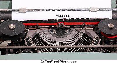 ouderwetse , geschreven, door, de, oud, typemachine