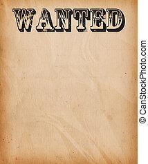 ouderwetse , gevraagd, achtergrond, poster
