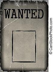 ouderwetse , gevraagd, mal, poster