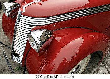 ouderwetse , glanzend, rood, auto., classieke, luxe, limousine., geschiedenis, van, automobile.
