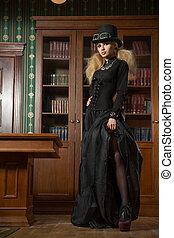 ouderwetse , gotisch, volgende, boekenkast, sexy, meisje