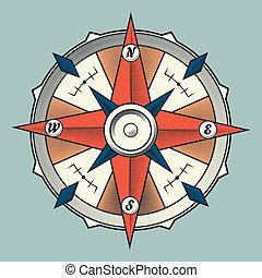 ouderwetse , grafisch, kleurrijke, kompas