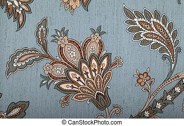 ouderwetse , grijze , behang, met, bruine , vignet,...