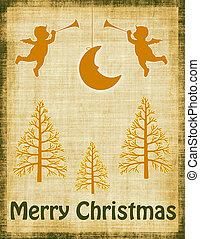 ouderwetse , groene, en, sinaasappel, kerstmis kaart