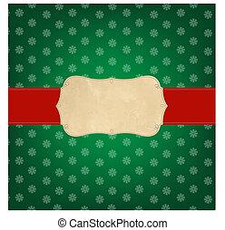 ouderwetse , groene, kerstmis, vrolijk, etiket