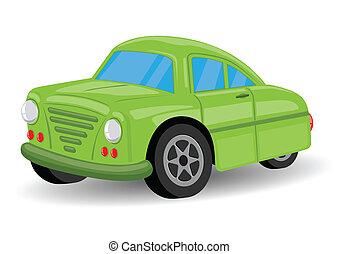 ouderwetse , /, groene, retro, auto, spotprent