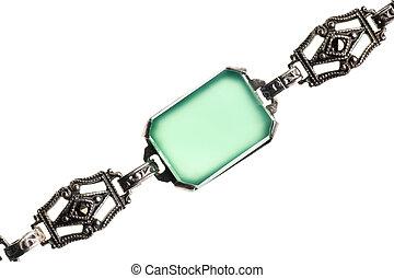 ouderwetse , groene, steen, armband, vrijstaand, op wit