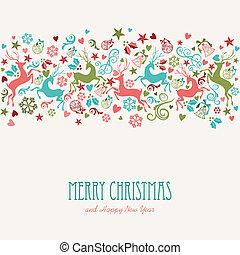 ouderwetse , groet, vrolijk, jaar, nieuw, kerstmis kaart, vrolijke