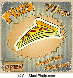 ouderwetse , grunge, menu., kaart, pizza